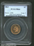 Proof Indian Cents: , 1863 1C PR66 PCGS. The tan-gold surfaces flash bright ...