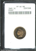 Proof Indian Cents: , 1865 1C PR64 Red and Brown ANACS. Well struck with tan-...