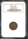 Proof Indian Cents: , 1871 1C PR65 Red and Brown NGC. Most of the remaining ...