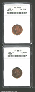 1873 1C Closed 3 PR63 Red and Brown ANACS, predominantly bright orange in color, but the obverse is speckled with aqua-b...
