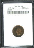 Proof Indian Cents: , 1875 1C PR64 Red and Brown ANACS. The mirrored fields ...