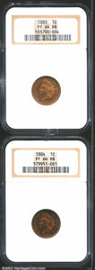 Proof Indian Cents: , 1883 1C PR64 Red and Brown NGC, bright gold and violet in ...