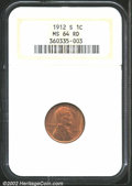 1912-S 1C MS64 Red NGC. Sharply defined with original, streaky red mint luster. An excellent value for the Lincoln Cent...