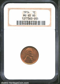 1914 1C MS65 Red NGC. Rich, original red color covers both sides of this fully struck Gem. Population: 36 in 65, 6 finer...