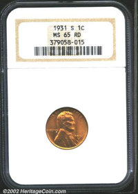 1931-S 1C MS65 Red NGC. Even orange-red color on the obverse turns to a mottled pattern of the same colors on the revers...