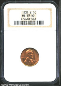 1931-S 1C MS65 Red NGC. Pleasing, even red color over both sides with a few specks of carbon present....(PCGS# 2620)