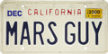 "Explorers:Space Exploration, Buzz Aldrin ""Mars Guy"" California License Plate,..."