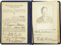 Explorers:Space Exploration, Edwin Aldrin, Sr., 1934 Aviator's Certificate and 1968 PocketDiary.... (Total: 3 Items)