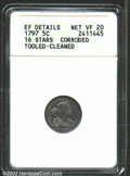 Early Half Dimes: , 1797 H10C 16 Stars--Corroded, Tooled, Cleaned--ANACS. XF ...