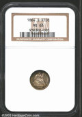 Seated Half Dimes: , 1864-S H10C MS63 NGC. A scarce S-mint issue with only 90,...