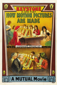 "How Motion Pictures Are Made (Keystone, 1914). One Sheet (27"" X 41"")"