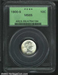 Barber Dimes: , 1900-S 10C MS65 PCGS. The 1 in the date is clearly ...