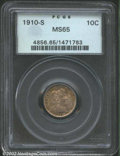 Barber Dimes: , 1910-S 10C MS65 PCGS. The borders have attractive gold, ...