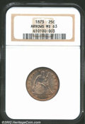 Seated Quarters: , 1873 25C Arrows MS63 NGC. Fully lustrous beneath medium ...