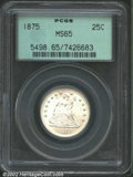 Seated Quarters: , 1875 25C MS65 PCGS. A well struck and frosty Gem with ...
