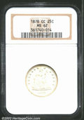 Seated Quarters: , 1878-CC 25C MS62 NGC. Generally brilliant and lustrous ...