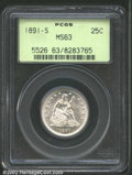 Seated Quarters: , 1891-S 25C MS63 PCGS. Lustrous, brilliant, and frosty, ...