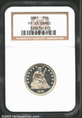 Proof Seated Quarters: , 1881 25C PR65 Cameo NGC. Well struck and brilliant with ...