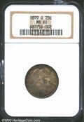 Barber Quarters: , 1899-O 25C MS65 NGC. The borders have warm russet and ...