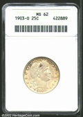 Barber Quarters: , 1903-O 25C MS62 ANACS. Generally milky-gray in color, but ...