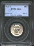 Washington Quarters: , 1932-S 25C MS63 PCGS. Bright and satiny with just the ...