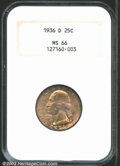 Washington Quarters: , 1936-D 25C MS66 NGC. Richly toned with predominantly ...