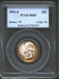 Washington Quarters: , 1951-S 25C MS67 PCGS. The obverse has rich peripheral ...