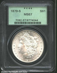 1879-S $1 MS67 PCGS. With sharply impressed and carefully preserved surfaces, this frosty-white example would fit nicely...