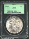 1900 $1 MS66 PCGS. Virtually untoned, the frosty textured surfaces are smooth from rim to rim....(PCGS# 7264)