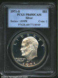 Proof Eisenhower Dollars: , 1971-S $1 Silver PR69 Deep Cameo PCGS. This lovely first-...