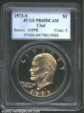 Proof Eisenhower Dollars: , 1973-S $1 Clad PR69 Deep Cameo PCGS. Both sides are ...