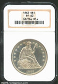 Proof Seated Dollars: , 1863 $1 PR62 NGC. Lightly toned with dusky-gold patina. ...