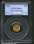 Commemorative Gold: , 1905 $1 Lewis and Clark MS64 PCGS. This green-gold ...
