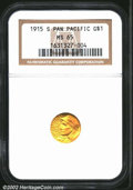 Commemorative Gold: , 1915-S $1 Panama-Pacific Gold Dollar MS65 NGC. ...