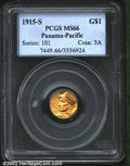 Commemorative Gold: , 1915-S $1 Panama-Pacific Gold Dollar MS66 PCGS. The ...