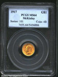 Commemorative Gold: , 1917 $1 McKinley MS64 PCGS. Typically struck but with ...