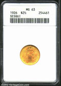 Commemorative Gold: , 1926 $2 1/2 Sesquicentennial MS63 ANACS. Both sides are ...