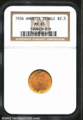 Commemorative Gold: , 1926 $2 1/2 Sesquicentennial MS65 NGC. This carefully ...