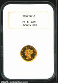 Proof Liberty Quarter Eagles: , 1859 $2 1/2 PR64 Cameo NGC. Old Reverse. Writing in 1986, ...