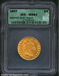 Early Half Eagles: , 1807 $5 Bust Right MS64 ICG. B. 3-C, Miller-89, R.6. A ...