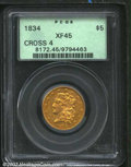 Classic Half Eagles: , 1834 $5 Crosslet 4 XF45 PCGS. A second and even finer XF ...