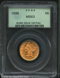 Liberty Half Eagles: , 1895 $5 MS63 PCGS. Sharply struck with bright honey-gold ...