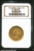 Liberty Eagles: , 1842 $10 Small Date XF45 NGC. Numerous abrasions with ...