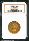 Liberty Eagles: , 1844-O $10 XF45 NGC. The centers are well struck, but a ...