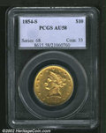 Liberty Eagles: , 1854-S $10 AU58 PCGS. Two reverse dies were used for the ...