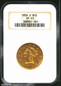 Liberty Eagles: , 1856-S $10 XF45 NGC. From a good strike and with nice ...
