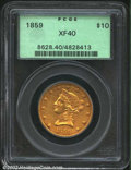 Liberty Eagles: , 1859 $10 XF40 PCGS. The stars are flatly struck, but the ...