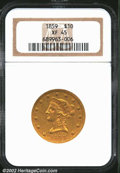 Liberty Eagles: , 1859 $10 XF45 NGC. Sharply detailed in the centers, with ...