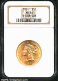 Liberty Eagles: , 1861 $10 MS62 NGC. The most easily obtainable (in an ...