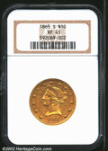 Liberty Eagles: , 1865-S $10 XF45 NGC. Perfect Date. As such, scarcer than ...